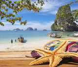 Fototapety détente sur plage de Phra Nang, Krabi, Thaïlande