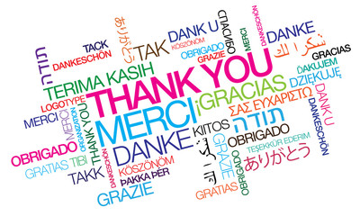 International Thank you gracias word tag cloud greetings