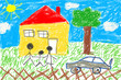 canvas print picture - Child drawing house and family