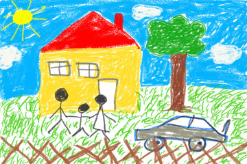 Child drawing house and family