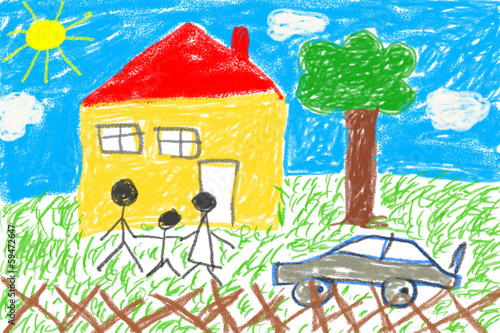 canvas print picture Child drawing house and family