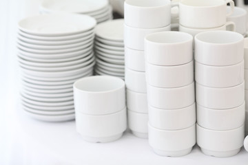 White crockery on a white background, a restaurant