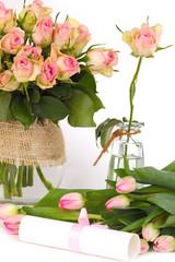 Blumen und Geschenkgutschein