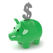Green piggy bank saves dollars