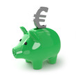 Green piggy bank saves Euros