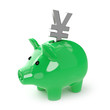 Green piggy bank saves Japanes Yen