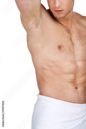 Close up of sexy fit handsome male body.