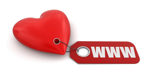 Heart with label WWW (clipping path included)