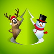 Reindeer and snowman with papercut tree - winter theme - Merry c