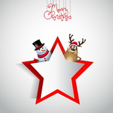 Reindeer and snowman with papercut star - winter theme - Merry c poster