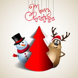 Reindeer and snowman with papercut tree - winter theme - Merry c poster