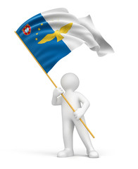 Man and flag of the Azores (clipping path included)