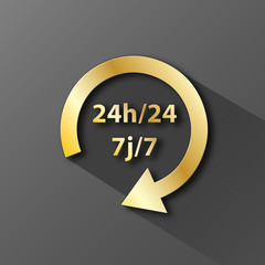 Icône SERVICE 24h/24 7j/7 (tampon symbole ouverture horaires)