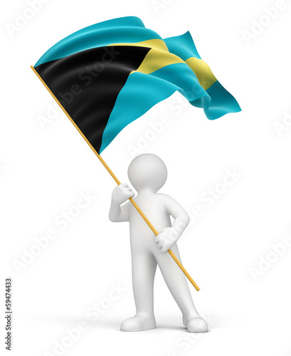 Man and Bahama flag (clipping path included)