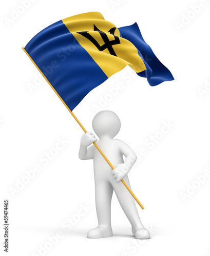 Man and Barbados flag (clipping path included)