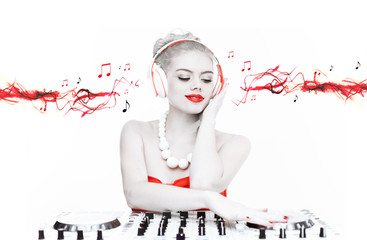 Beautiful disc jockey mixing music
