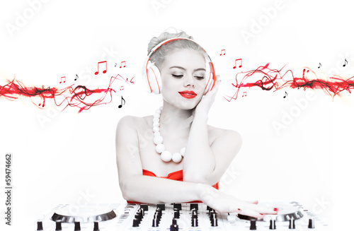 Beautiful disc jockey mixing music
