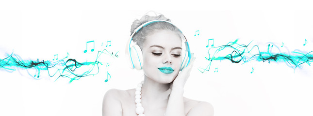 Beautiful woman enjoying her music
