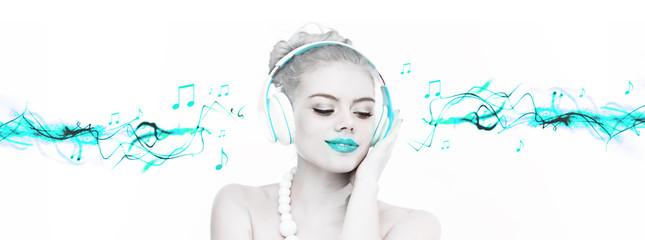 Beautiful woman enjoying her music