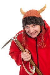 Funny man holding climbing  pickaxe and smiling