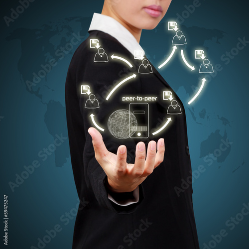 Business woman showing network concept , Creative drawing busine
