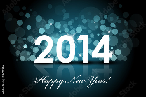Vector 2014 - Happy New Year blue background with snow
