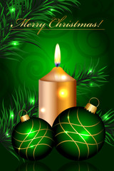 Vector Merry Christmas green background with baubles and candle