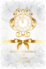 Vector Merry Christmas & Happy New Year background with gold clo