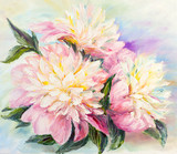 Peonies, oil painting on canvas
