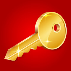 Vector illustration of gold shiny key on red background