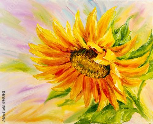 Słonecznik, obraz olejny na płótnie