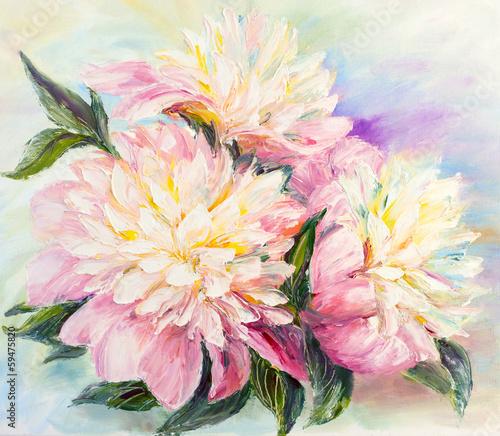 Fototapeta Peonies, oil painting on canvas