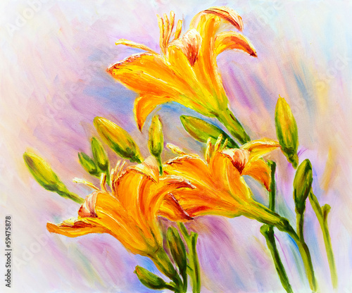 Yellow lily flowers and buds. Oil painting.