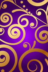 Vector purple background with gold ornament