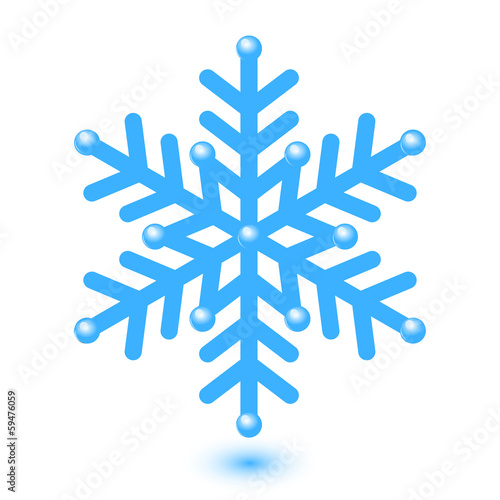 Vector illustration of blue shiny snowflake