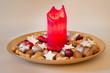 Weihnachtsteller mit Kerze