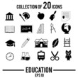 Collection of 20 education vector icons.
