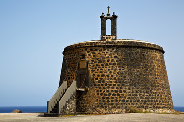 spain the old wall castle  tower r  in teguise arrecife lanzaro