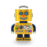 Happy yellow vintage toy robot smiling
