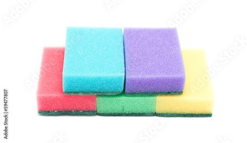 The foam sponge for washing dishes isolated on white background