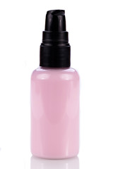 kleine pumpflasche mit rosa pflege creme pflegeprodukt