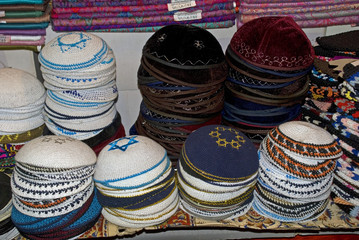 Kipas in the bazaar, Jerusalem, Israel