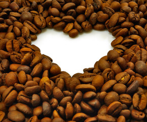 Isolated image of heart made of coffee beans