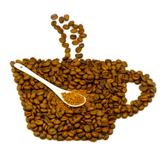 cup made ??of coffee beans and instant coffee in spoon