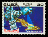 CUBA - CIRCA 1980: A stamp printed in CUBA, Intercosmos program,
