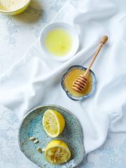 Acacia honey, lemon and lemon juice (from above)