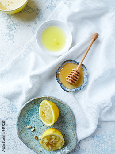 Acacia honey, lemon and lemon juice (from above)