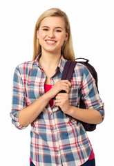 Happy Female College Student Carrying Backpack