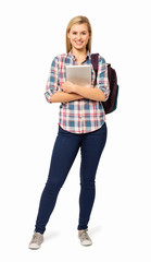 Portrait Of College Student With Backpack And Digital Tablet