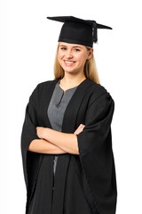 Happy Student In Graduation Gown Standing Arms Crossed